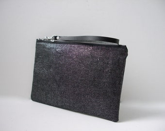 Black Clutch Purse, Black Wristlet, Black Metallic Bag, Cool Clutch Bag