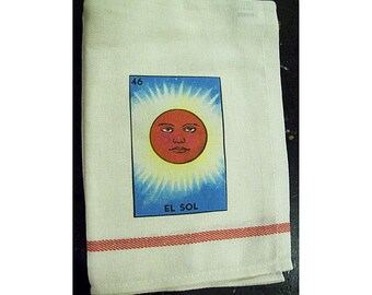 Loteria kitchen dish towel retro Mexico kitchen vintage bar towel kitsch