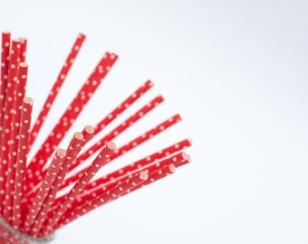 20 paper straws red polka dot