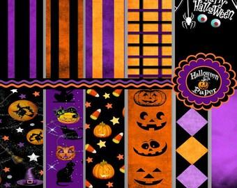 Halloween Digital Paper Backgrounds - Black Cat - Jack O Lantern - Witch - Spider Webs - Black - Purple - Orange - CU