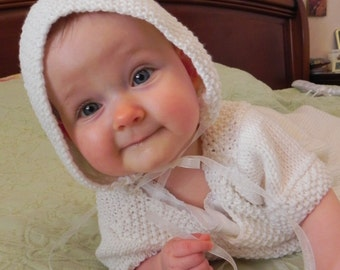 Traditional French Baby Bonnet Knitting Pattern PDF