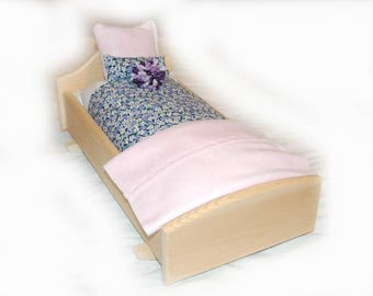 Rock Her to Sleep!  Single Doll Bed - Forget-me-not American Made Girl Doll Bed - Fits AG Doll and 18inch doll BittyBaby 18' Doll Furniture