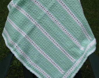 Hand Crocheted Baby Blanket Afghan in Green and White