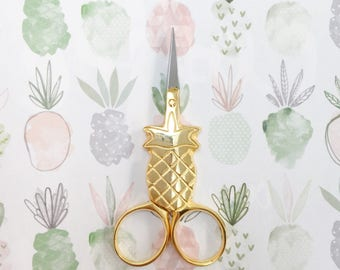 Gold plated pineapple embroidery scissors