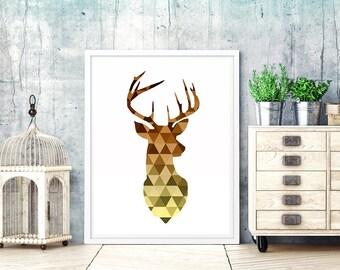 Deer print. geometric deer print. deer head print. deer printable. geometric deer art. scandinavian print. deer wall art print. triangle