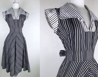 1970s Black and White Striped Chevron Shirt Dress // 70s Shirtwaist Dress by The Limited Stripes Summer Dress