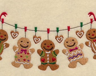Gingerbread Clothesline Embroidered Flour Sack Hand/Dish Towel