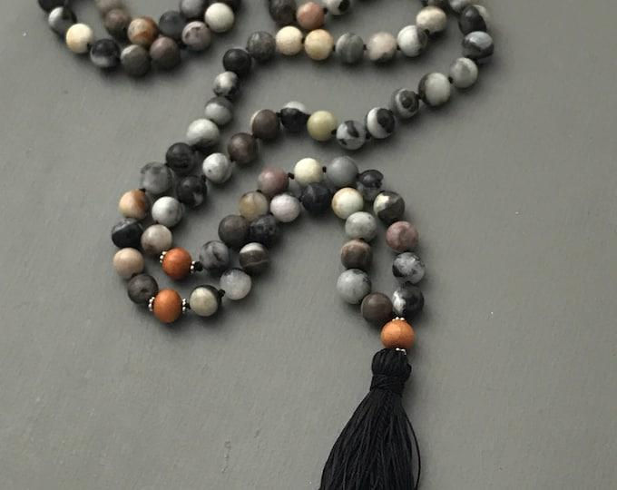 Winter amazonite mala necklace