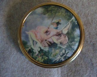 """Mascot Metal Compact with Fragonard's """"The Swing"""", Vintage, Made in England"""
