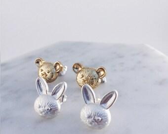 Rabbit & Bear Friends! Bunny pierce, bunny pierce, teddy bear pierce, animal accessories, animal earrings