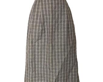 Vintage Midi Skirt High Waist Pockets 60s Pleated Plaid Size Small