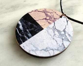 Necklace - faux black-white-pink marble, wooden pendant, fashion accessory, modern, decoupaged design - style 7
