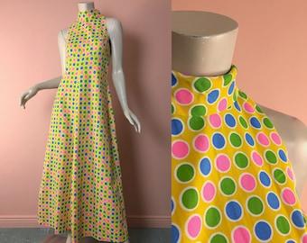 60s Neon Candy Dots Maxi Dress- 1960s Vintage Mod Formal in Yellow- Op Art Circles- Sleeveless High Neck- Cotton- Small / Medium