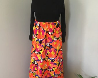 1960s Mod Neon Floral Two Toned Scoop Back Dress