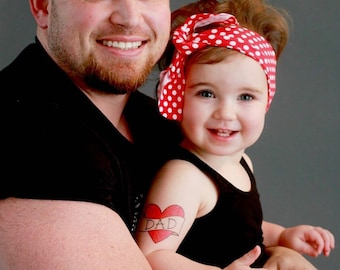 valentines day gift temporary tattoo family photoshoot prop for dad fathers day retro fake tattoo large red heart tattoo daddy daughter gift