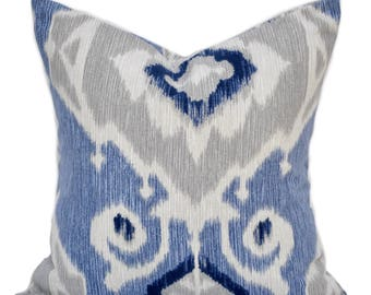 1 Ikat pillow cover, cushion, decorative throw pillow, Blue pillow, accent pillow, Grey pillow, pillow case