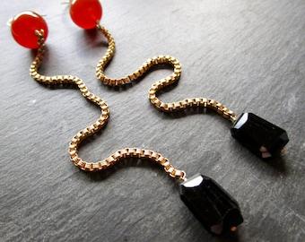 Carnelian & Spinel Super Long Gemstone Earrings - Vintage Box Chain - Gold Fill  - Etsy Jewelry - catROCKS - Shoulder Sweeper- Grace Frankie