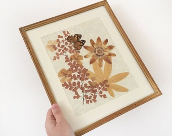Vintage framed pressed flowers & butterfly - bohemian eclectic jungalow boho home decor style - dried florals wildflowers mustard #0995