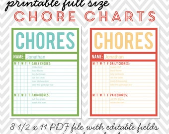 Printable Full-Size Chore Charts - Editable PDF
