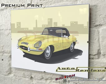 Jaguar Etype Roadster + Lightweight Personalised Premium Signed Prints 12x8(A4) to 45x30(A0) Classic Cars Custom Illustration Norman Dewis
