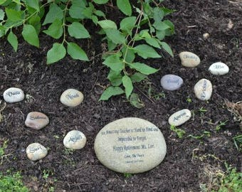 Garden Stones Engraved Personalized stones etsy engraved teachers real stone mothers day stone namesake stone family stoneengraved workwithnaturefo