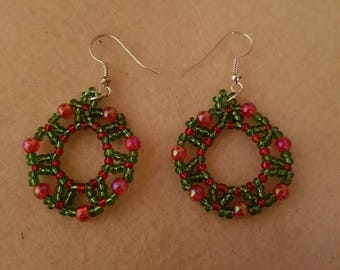 Beautiful Christmas Wreath Earrings