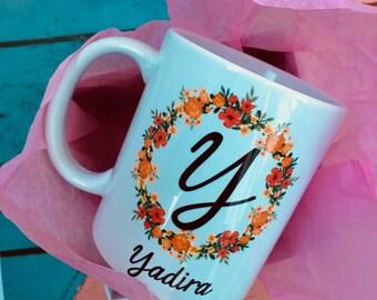 Monogram mug, initial, gift cup, potato mugs, Mother's Day, Gif, mug