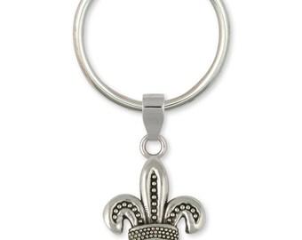 Fleur De Lis Key Ring Jewelry Sterling Silver Handmade Flower Key Ring FD11-KR