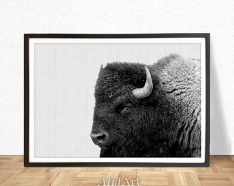 Buffalo Print, Bison Wall Art, Landscape, Horizontal, Nursery Decor Kids Room Poster, Black and White Minimalist, Printable Digital Download