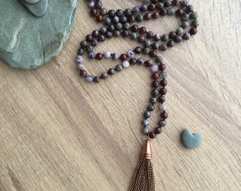 Hand Knotted Red Lightning Agate Necklace with Tassel