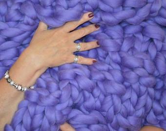 Chunky Merino Blanket, Bulky Blanket, Arm Knitted Blanket, Handmade Throw, Chunky Knit Blanket,Merino Throw,Gift FREE INTERNATIONAL SHIPPING