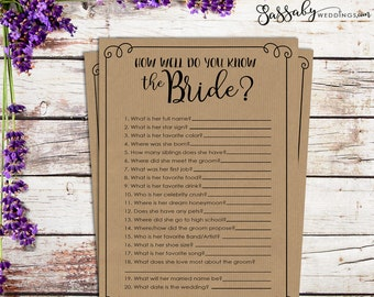 How well do you know the Bride? Bridal Shower Game - INSTANT DOWNLOAD - Printable Wedding Shower Games, Brown Paper Style, Sassaby Weddings