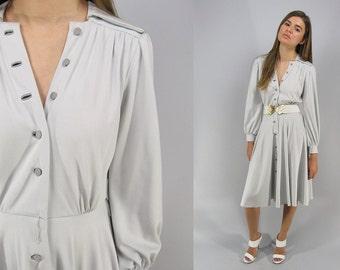Vintage 70s Shirt Waist Dress, Jersey Dress, Disco Dress, Full Skirt, Drape, Silver Dress, Button Front Dress Δ size: sm