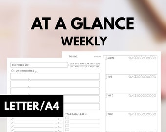 AT A GLANCE WEEKLY Planner, Letter size, A4 Size Insert Printable, Letter Weekly Planner Letter insert, A4 Weekly planner A4 printable
