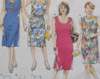 Loose Fitting Summer Dress Sewing Pattern/Burda Super Easy 4768/ Miss Size 20- 22- 24- 26- 28- XL, Plus Size/pockets, shoulder straps/ Uncut