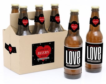 Valentine's Day Beer Labels - 6 Beer Bottle Labels & 1 Carrier - Valentines Day Gift for Him or Her - Husband Beer Lover Gift