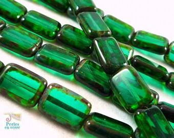 5 Czech beads, Emerald Picasso rectangles, 8x12mm (Ptch29)