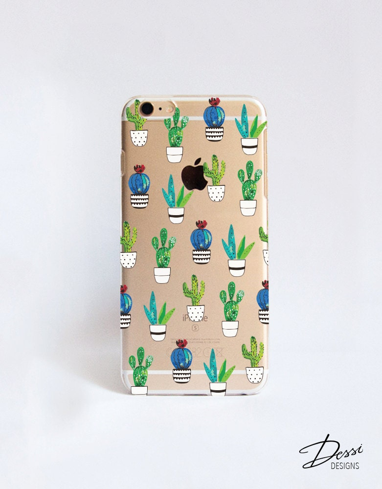 Transparent cactus cell phone case design for iphone samsung for Cell phone cover design ideas