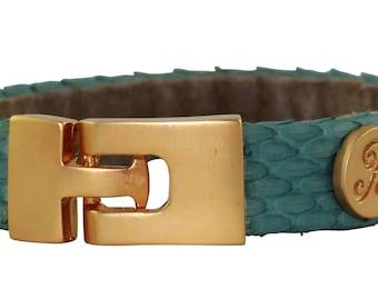 Python Bracelet, Python Cuff, BAJ 496 G Teal