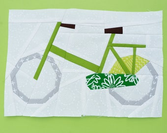 Bicycle Paper piecing pattern - Quilt block pattern