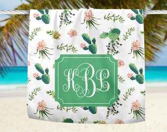 Cactus Beach Towel, Custom Beach Towel, Personalized Towel, Southwestern Towel, Custom Cactus Towel, Personalized Cactus Towel, Custom Towel