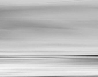 Light Sea Light, abstract landscape print, horizon art, black and white, dreamy seascape, abstract oceanscape, minimalist, zen, surreal, art