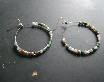 FREE Shipping - Boho Silver and Indian Jasper Hoop Earring - silver wire, indian jasper beads