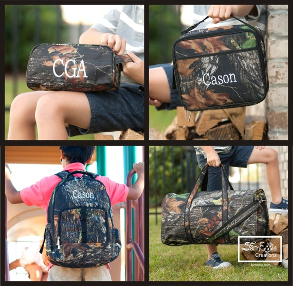 Woods Collection, Camo Backpack, Camo Lunch Box, Camo Pencil Case, Camo Duffel Bag, Camouflage Backpack, FREE MONOGRAM