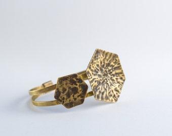 Hammered textured hexagonal geometrical bracelet