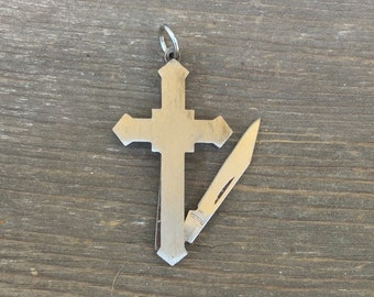Cross shaped Knife Pendant. Vintage 1970s. pocket knife fob. Men's jewerly. stainless steel metal. christian jewelry crucifix Fob m95