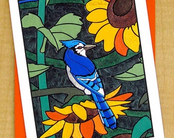 Blue Jay & Sun Flower Mosaic Greeting Card- Small Card- Any Occasion Blank Card- Flower Bird Card- Garden Art Card- Orange Card- Summer Card