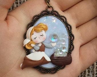 Cinderella Fimo Disney fan art polymer clay necklace Pendant