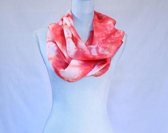 Shibori pink silk scarf with stars infinity scarf/circle scarf No. 221.