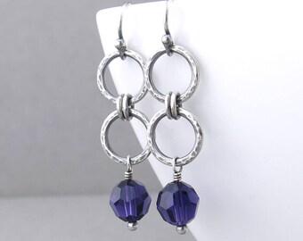 Simple Purple Earrings Silver Drop Earrings Silver Circle Earrings Modern Silver Jewelry Purple Jewelry Gift for Women - Akira